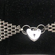 Fabulous English Hallmarked Silver Gate Bracelet, Wide With Heart