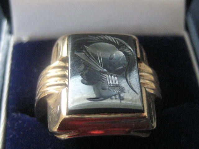 Heavy 10k Gold Man's Ring with Hematite Warrior Head, Size 10