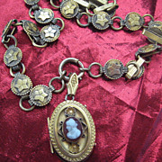 Victorian Gold Filled Cameo Locket on Wonderful Chain