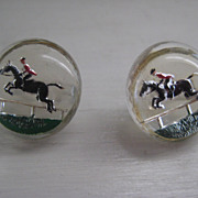 Two Vintage Equestrian Reverse Painted Buttons under Glass