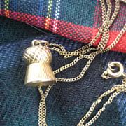 9ct Gold Scottish Thistle on 17 Inch GF Chain