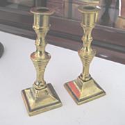 Pair Antique English Miniature Brass Candlesticks