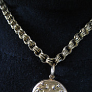 Pretty Art Deco Monogrammed Gold Filled Locket on Thick Victorian Chain