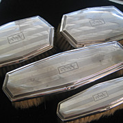 Set of Four Older Sterling Brushes Monogrammed HJC