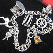 Vintage English Silver Charm Bracelet and Rabbit