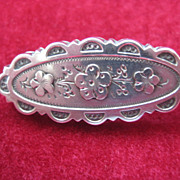 Early 1900s English Hallmarked Silver Floral Pin