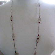 REDUCED 34 Inch Early Vintage Necklace with Ruby Red Beads