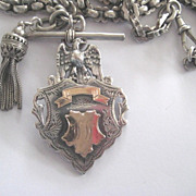 Victorian Silver Chains with 1910 Hallmarked Eagle Medal