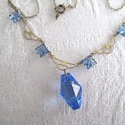 Pretty Blue Art Deco Necklace