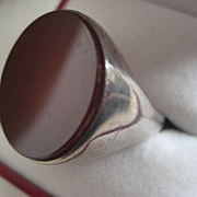 Large (7/8 ins wide) Carnelian and Silver Ring - size 8