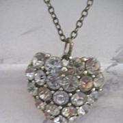 Pretty Vintage Heart Shaped Paste Necklace