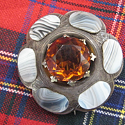 REDUCED Victorian Scottish Montrose Agate Brooch w/Cairngorm