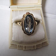 Vintage 9ct Fancy Gold Ring with Blue Topaz, Size 6 3/4