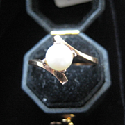 Vintage 10K Rose Gold Pearl Ring, Size 8