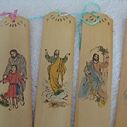 Set 4 Vintage French Religious Bookmarks w/Japanese writing (2nd Set)