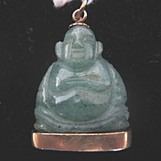 Adorable Vintage Jade Buddha w/14k Gold Base Initials W.E.H.