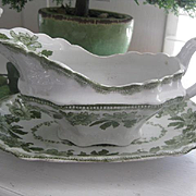 Victorian Sevres Green/White Gravy Boat & Saucer