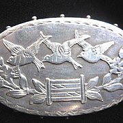 English Antique Silver Brooch with Three Birds