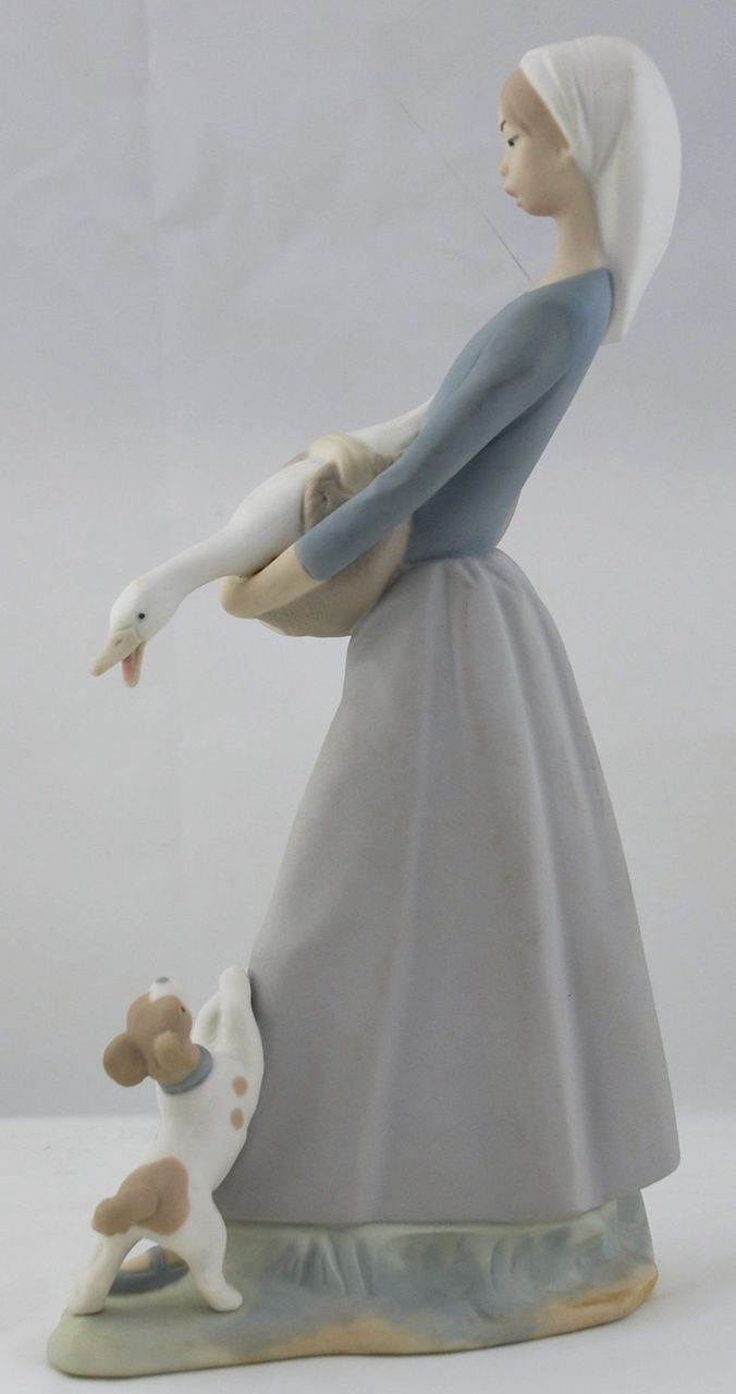 Lladro Figurine Girl With Duck Amp Dog 4866 From
