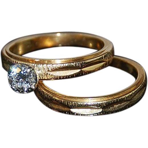Diamond Engagement  Ring Set 14kt Two Tone Gold