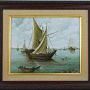 Hand Painted Porcelain Tile of Sailing Ships by Surber