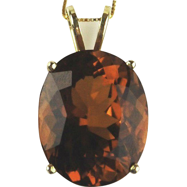 Citrine Necklace 14kt Yellow Gold - Oval Madeira Citrine