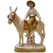 Royal Dux Porcelain Figurine - Boy on A Donkey
