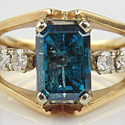 SALE Blue Diamond Cocktail Ring 14kt Two Tone Gold