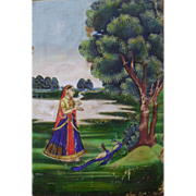 19th Century Persian Watercolor Painting of Woman in Garden