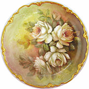 Hand-Painted Porcelain Plate With Roses by Surber