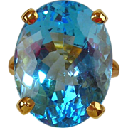 Blue Topaz Ring 14kt Yellow Gold