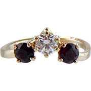 SALE Diamond And Garnet  Ring 14kt White Gold , Size 5 1/4