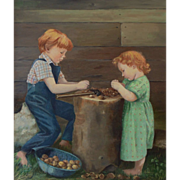 American Primitive Style Oil Painting by Louise Lecka