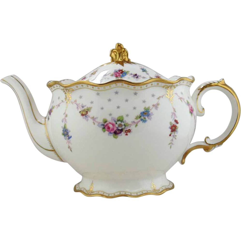 Royal Crown Derby Porcelain Teapot Royal Antoinette From