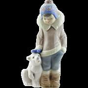 Lladro Figurine - Boy with Polar Bear Cub  #5238