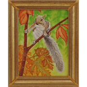 Original Oil Painting by Bev Abbott - Squirrel