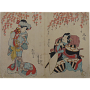 Antique Japanese Woodblock, Diptych-Geisha and Man