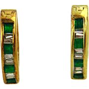 SALE Emerald and Diamond Earrings 14kt Yellow Gold