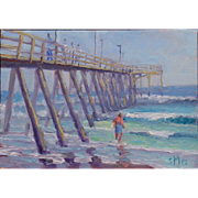 Seascape Oil Painting Mounted in Cigar Box by Morris