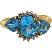SALE Blue Topaz & Diamond Ring 14kt Yellow Gold