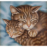 Cat and Kitten Original Art by Sue Wall