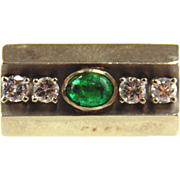SALE Emerald & Diamond Ring 14kt White Gold