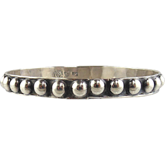 Sterling Silver Beaded Bangle Bracelet-Mexican