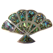 Sterling Silver & Abalone Fan Brooch - Vintage Mexico, Signed