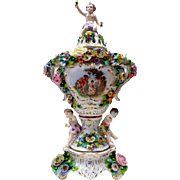 Pair of Sitzendorf Floral Encrusted Porcelain Lidded Urns-Germany
