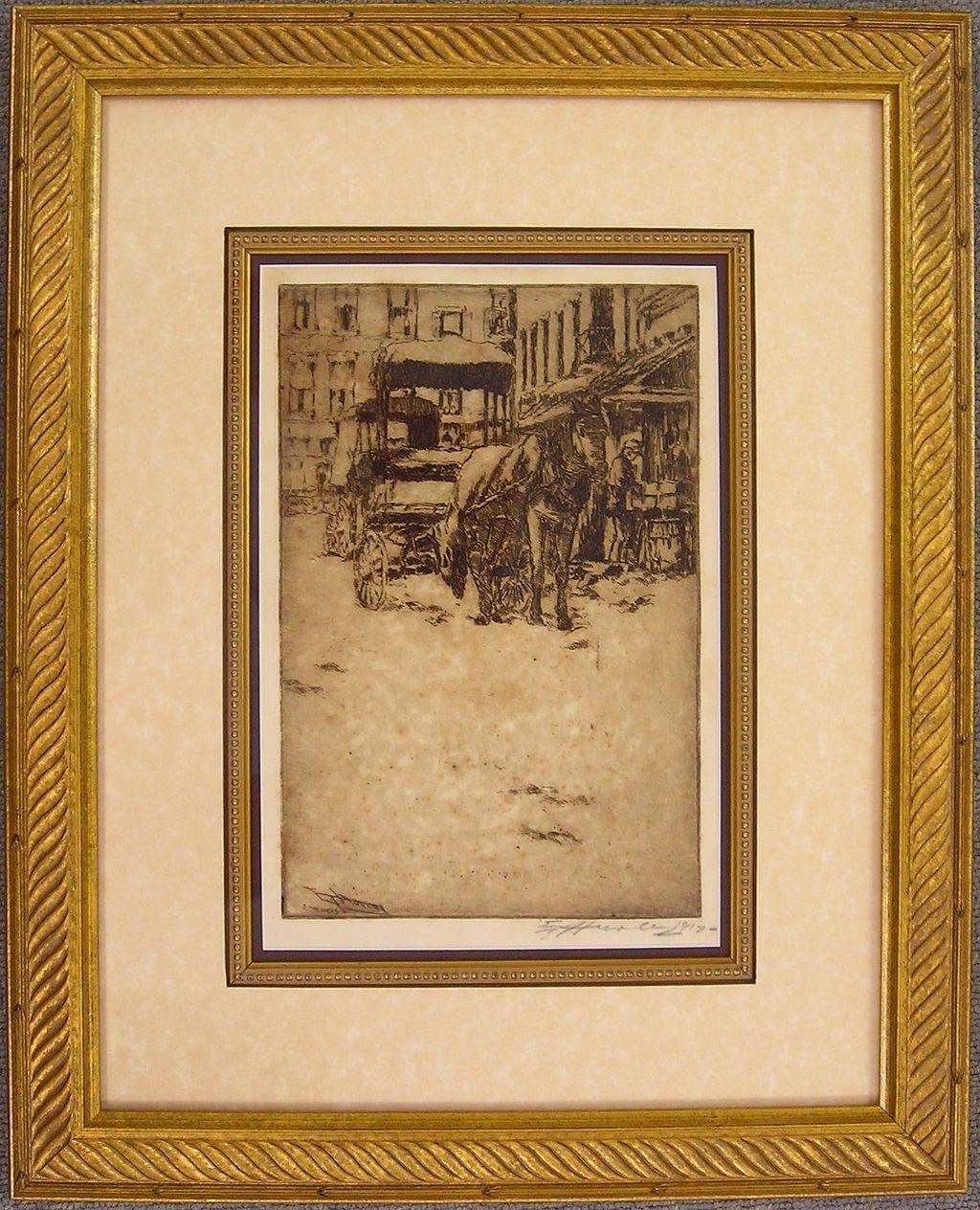 Cincinnati Market Original Etching by Hurley, Signed
