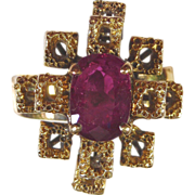 SALE Ruby Ring 18kt Yellow Gold , Size 7 1/2