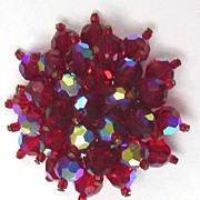 Red Crystal Flower Pin / Brooch