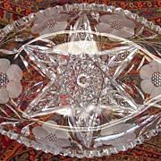 American Cut Glass Dish: Star & Floral Design