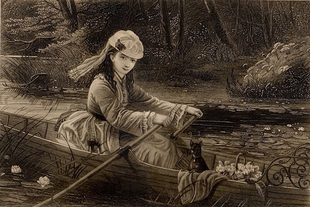 Antique Engraving of Beautiful Woman Rowing, After T. Brooks